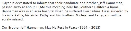 Jeff Hanneman Dies
